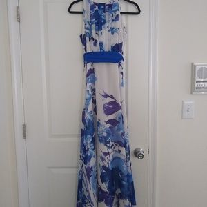 Floral chiffon evening gown